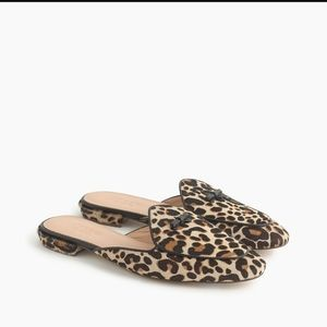 J.Crew Piped Loafer Mule Leopard Calf Hair